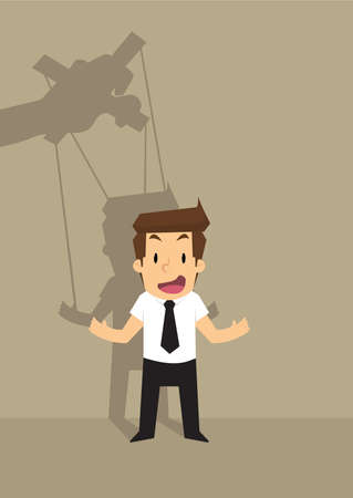 exploited: businessman in your control working puppets. vector