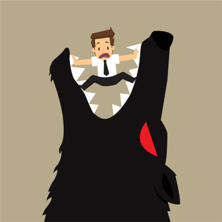 businessman fall into a trap devil wolf. vector