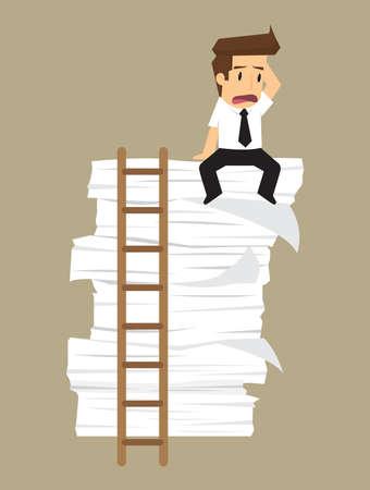 accumulation: businessman lazy work, accumulation of work.vector