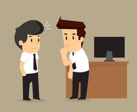 persuade: businessman persuade friends gossip others. vector