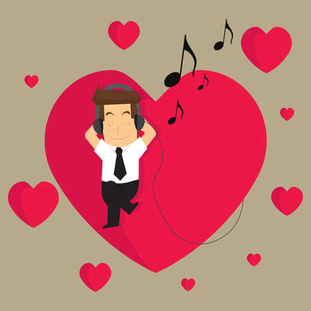 personality: businessman listening to the music of love in what they do.vector