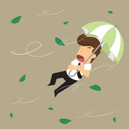 blown: businessman blown away by the storm.