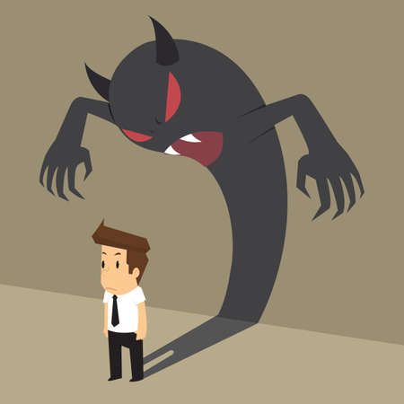devil man: business man with devil shadow that come from within him. vector
