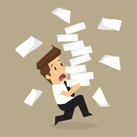 stack of paper: Businessman run holding a lot of documents in his hands. vector
