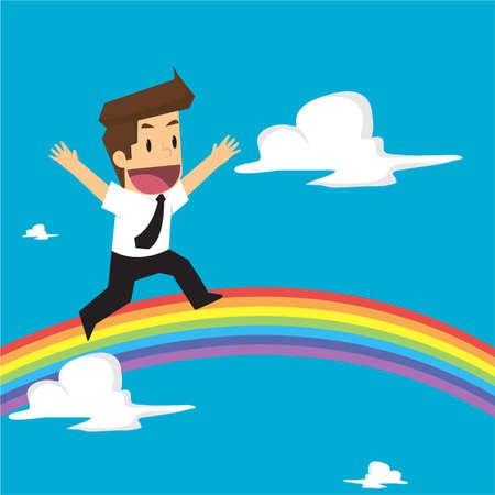 businessman running on rainbow to success. vector