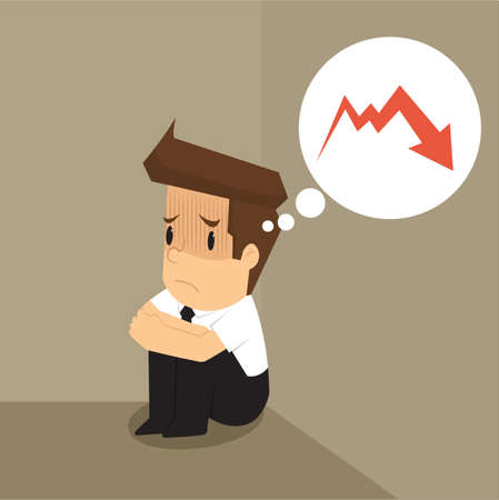 dismal: businessman dismal graph down. vector Illustration