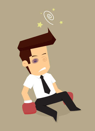 overthrow: businessman boxing until fall down. vector