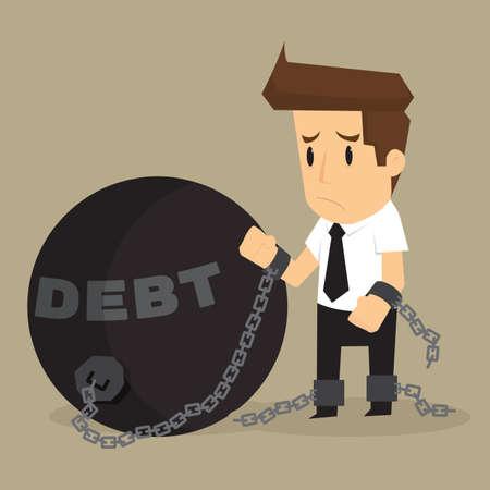 failed plan: businessman bonded pendulum debt. vector