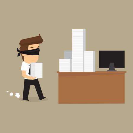ojos vendados: hombre de negocios con los ojos vendados en el trabajo. vector