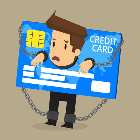 businessman being imprisoned by the debt credit card. vector Stock Illustratie
