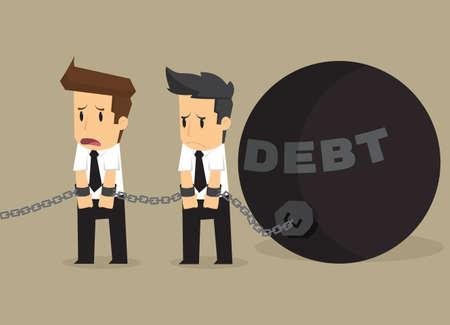 pendulum: businessman bonded pendulum debt. vector