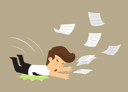fell: business man fell, document work distribution. vector