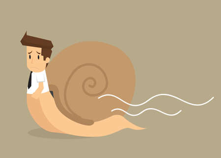 businessman works slowly like snail. vector