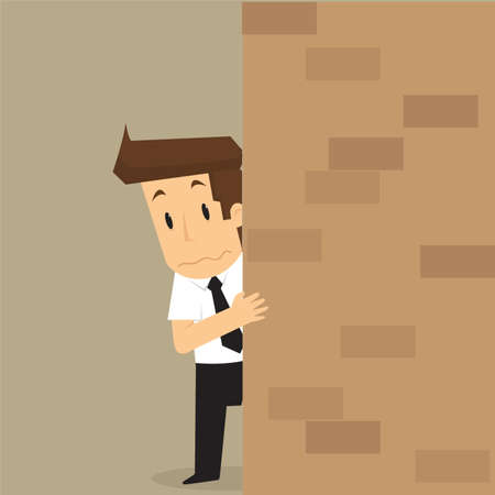 apprehensive: businessman apprehensive, Hiding behind the wall .vector