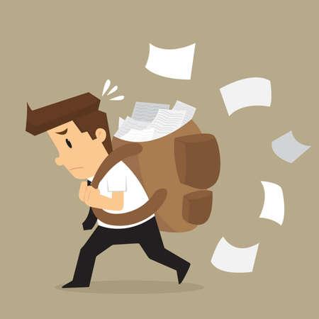 endeavor: businessman carrying documents, work hard. vector