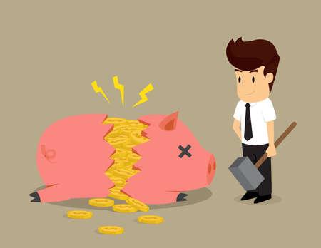 businessman smashed piggy bank.vector Illustration