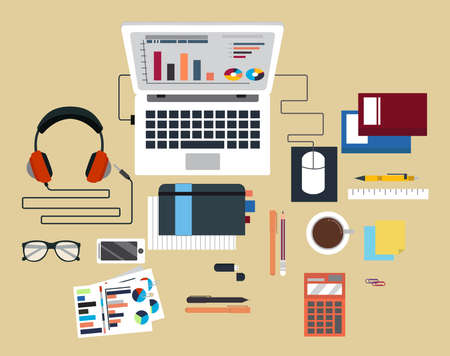 digitally: Digitally generated Desk with computer and other accessories vector. vector