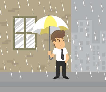 failed plan: businessman was caught in the rain. vector