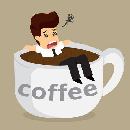 businessman dizziness with big cup coffee.vector