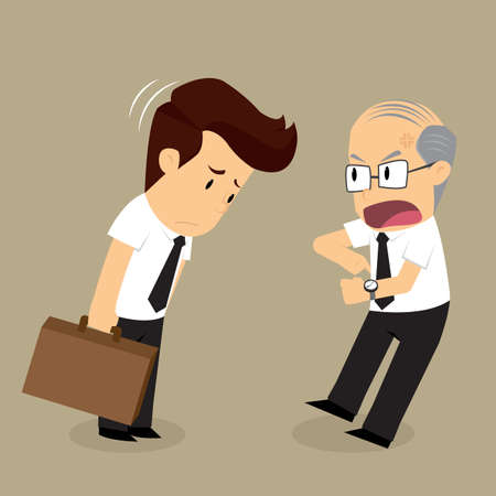 complain: businessman arrive late ,boss complain. vector
