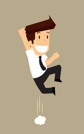 in ecstasy: hombre de negocios salta éxtasis. vector