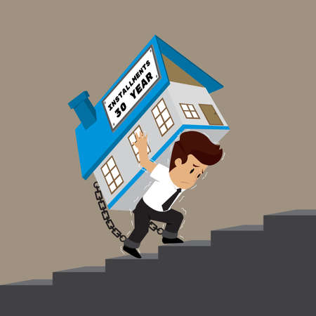 afflicted: business man carrying a house up the stairs, persistent installment. vector