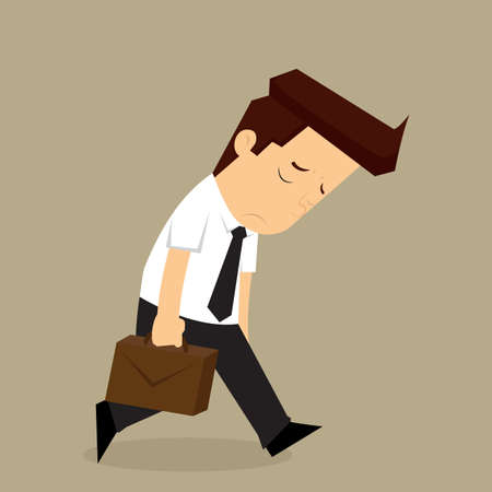 whacked: businessman fatigue because of hard work. vector Illustration