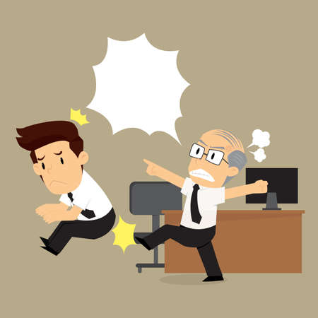 dismissal: The boss is angry kick  businessman ,dismissal from the job. vector
