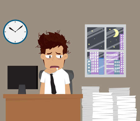 endure: businessman endure working late at night. vector Illustration
