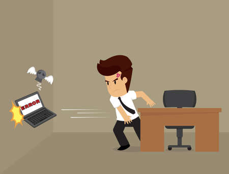 hurl: Businessman angry throwing, computer error. vector