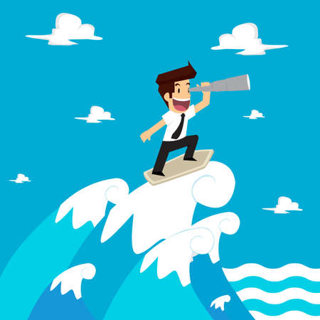 prudential: businessman be farsighted on the waves. vector Illustration
