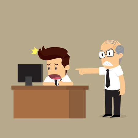 The boss forced to work hard. vector Ilustração Vetorial