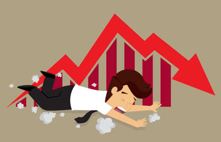 fall about: business man fell, graph fall. vector