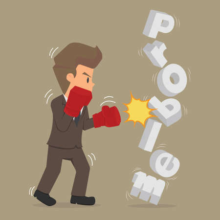 pugilist: Student businessman to fight against the problem. vector