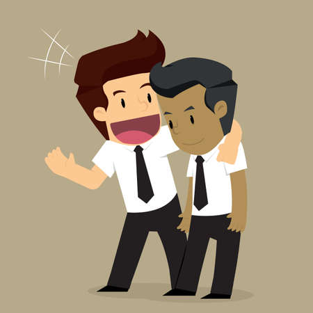 businessman to consult workmate. vector