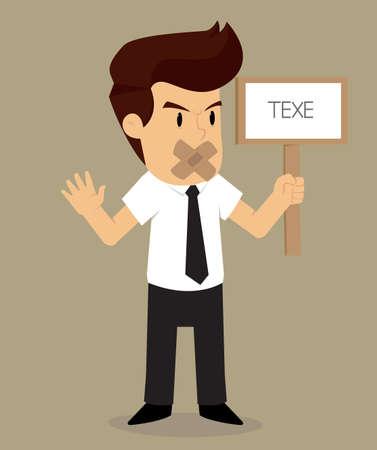 proscribed: businessman holding a sign, Proscribed. vector Illustration