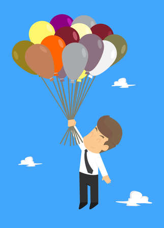 Businessman Fly on Balloons to the Sky. vector Illustration