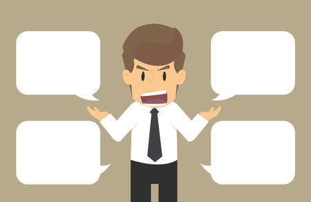 argumentative: business Man Talking disputed issues.vector Illustration