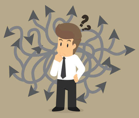 selecting: businessman selecting the best solution. vector