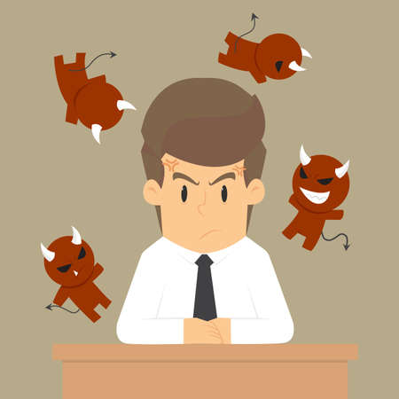 businessman angry, the devil in him around. vector