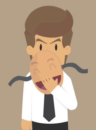 affected: Businessman hiding a mask. vector