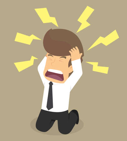 businessman have a headache because of the problem. vector Illustration
