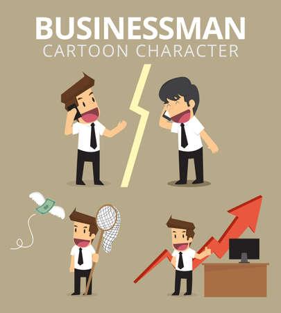 Impostare, Carattere dell'uomo d'affari. vettore Archivio Fotografico - 69261418