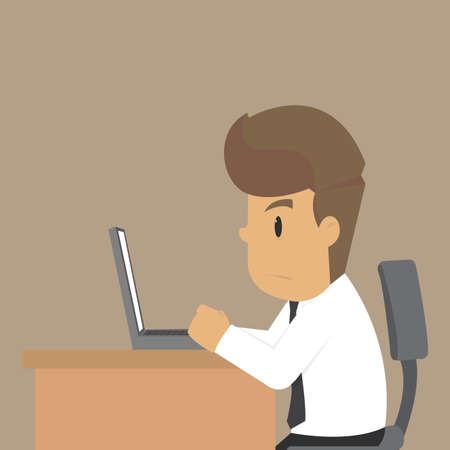busy person: Business man work overtime. vector
