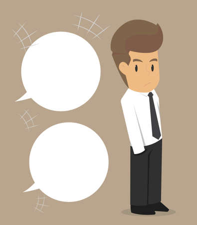 questioned: business man being questioned. vector