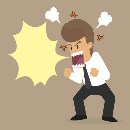 businessman angry, yell crazy. vector Vetores