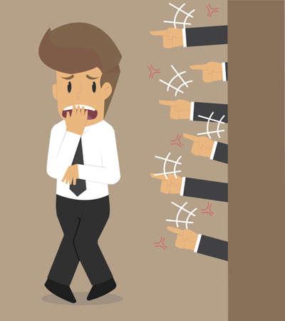 businessman frightened, condemning. vector Ilustração Vetorial