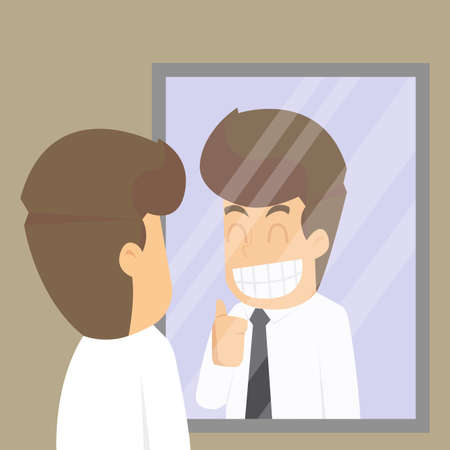 businessman ,look in the mirror to cheer myself, commitment. vector  イラスト・ベクター素材