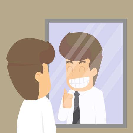 zakenman, kijk in de spiegel om mezelf op te vrolijken, betrokkenheid. vector Stock Illustratie