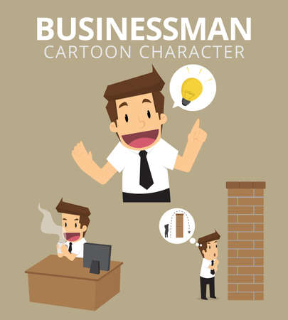 set the intention: Set,Businessman Character. vector
